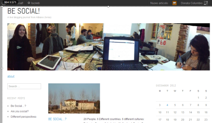 L'homepage del blog Be Social
