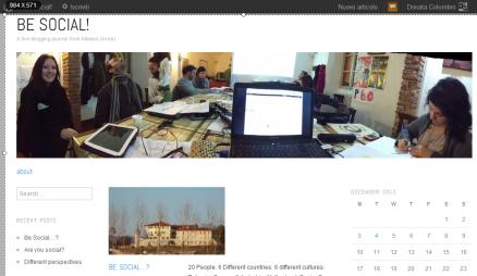 L'homepage del blog Be Social